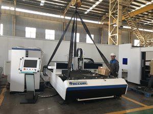 الصين مصنع آلة قطع شارة + تبادل الألياف الليزر القاطع